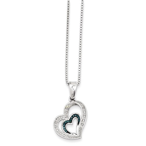 Sterling Silver 1/10 ct Blue and White Diamond Heart Necklace