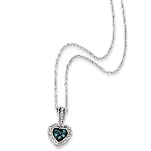 Sterling Silver 1/4 ct Blue and White Diamond Heart Necklace