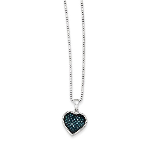 Sterling Silver 1/6 ct Blue Diamond Heart Necklace