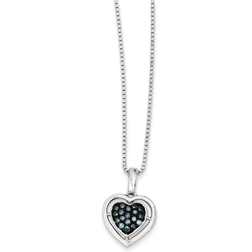 Sterling Silver 1/4 ct Blue Diamond Heart Necklace