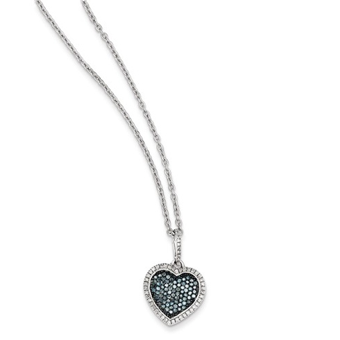 Sterling Silver 1/3 ct Blue and White Diamond Fancy Heart Necklace
