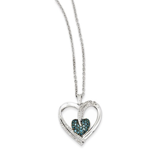 Sterling Silver 3/8 ct Blue and White Diamond Heart Necklace