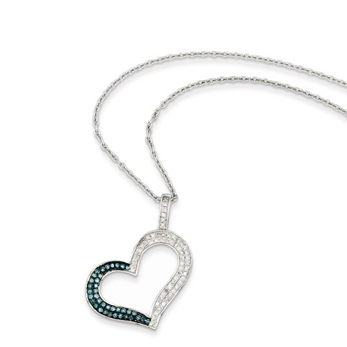 Sterling Silver 1/3 ct Blue and White Diamond Heart Necklace