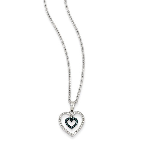 Sterling Silver 1/6 ct Blue and White Diamond Heart Necklace
