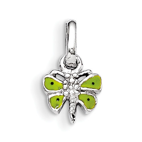 Rhodium Plated Sterling Silver Child's Green Enameled Butterfly Pendant