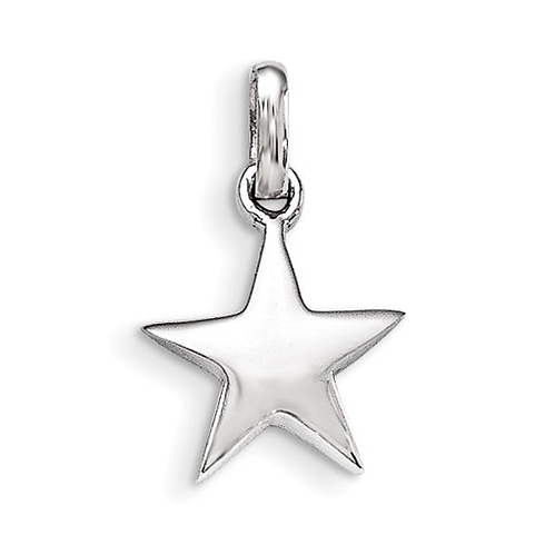 Rhodium-plated Sterling Silver Child's Star Pendant