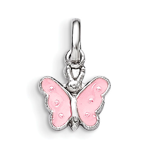 Rhodium Plated Sterling Silver Child's Pink Enameled Butterfly Pendant