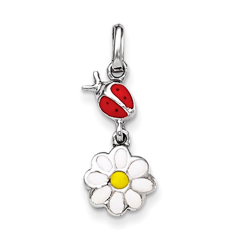 Rhodium-plated Sterling Silver 3/4in Child's Enameled Ladybug & Daisy Pendant