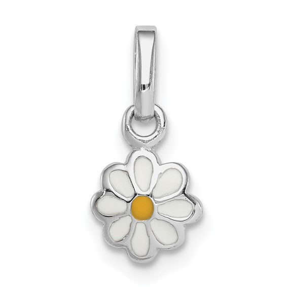 Sterling Silver 1/4in Child's White Yellow Enamel Daisy Pendant