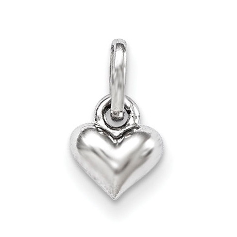 Rhodium-plated Sterling Silver 3/16in Child's Heart Pendant