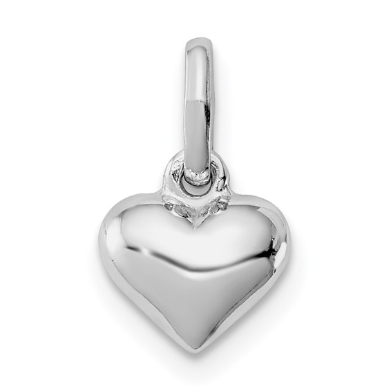 Rhodium-plated Sterling Silver Child's 1/4in Heart Pendant