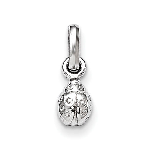 Rhodium-plated Sterling Silver 1/4in Child's Polished Ladybug Pendant