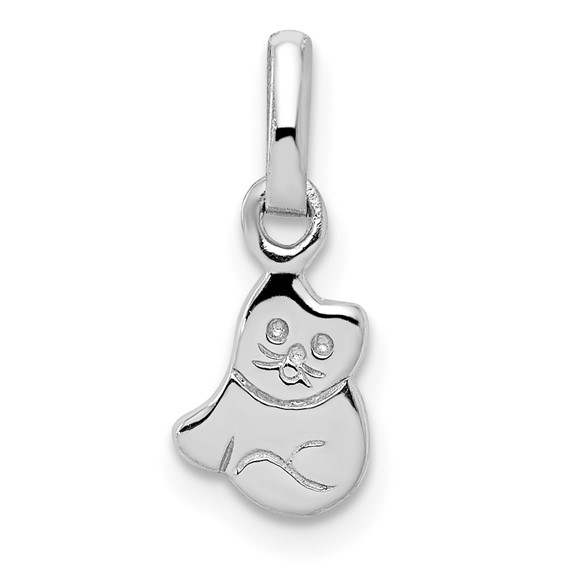 Rhodium-plated Sterling Silver Child's Kitty Cat Pendant