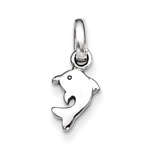 Rhodium-plated Sterling Silver Child's Polished Dolphin Pendant