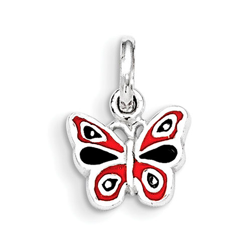 Sterling Silver Orange and Black Enamel Kid's Butterfly Pendant