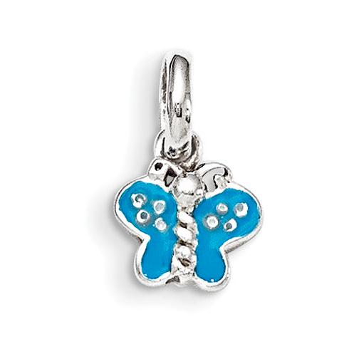 Sterling Silver Blue Enamel Butterfly Kid's Pendant