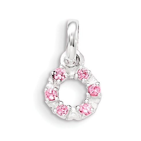 Sterling Silver 3/8in Pink and White CZ Kid's Circle Pendant