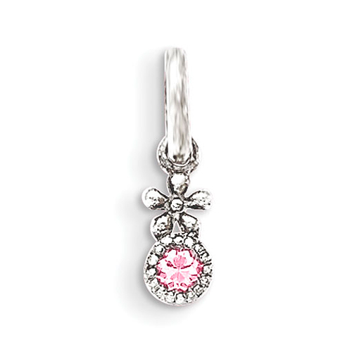 Sterling Silver 3/8in Pink CZ Flower Kid's Pendant