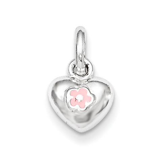 Sterling Silver 1/4in Pink Enamel Kid's Heart Pendant