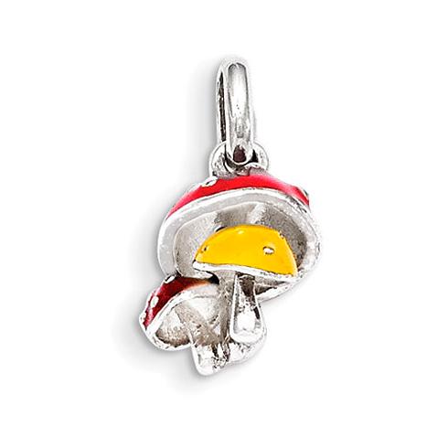 Sterling Silver 1/2in Enamel Kid's Mushroom Pendant