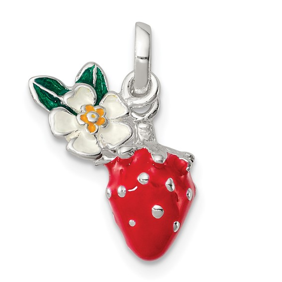 Sterling Silver 5/8in Enamel Kid's Flower and Strawberry Pendant