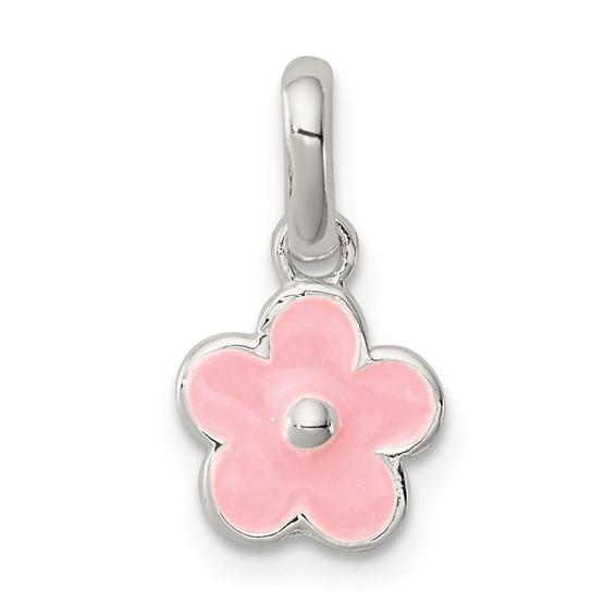 Sterling Silver Pink Enamel Kid's Flower Pendant