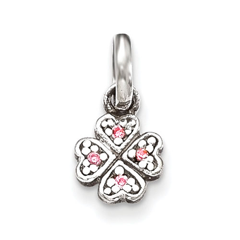 Sterling Silver Pink CZ Hearts Kid's Pendant
