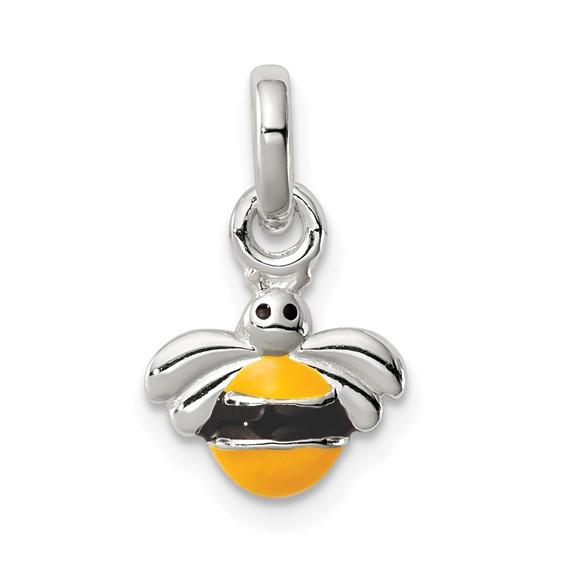 Sterling Silver Children's Yellow Black Enameled Bee Pendant