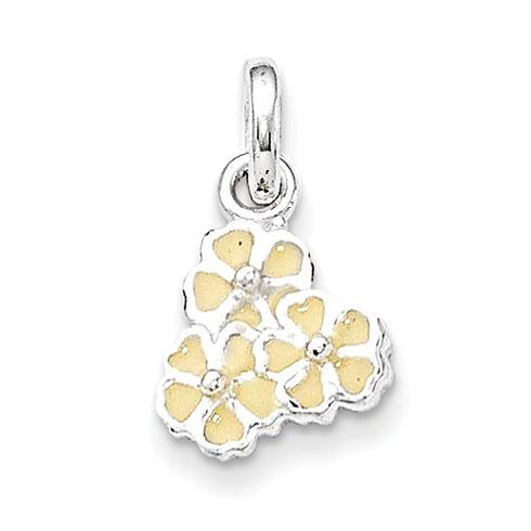 Sterling Silver Yellow Enamel Flower Kid's Pendant