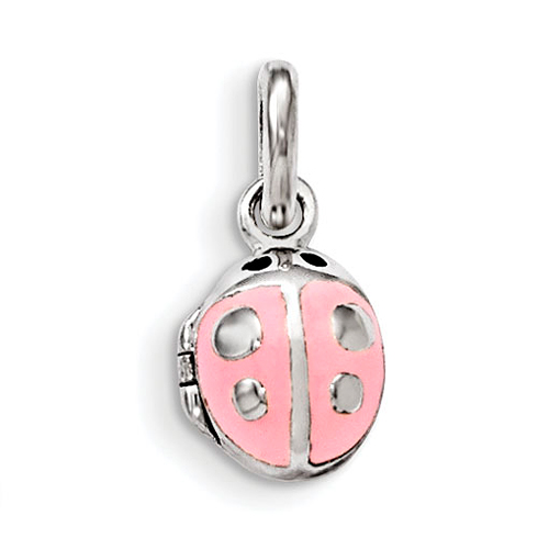 Sterling Silver 3/8in Pink Enamel Ladybug Locket