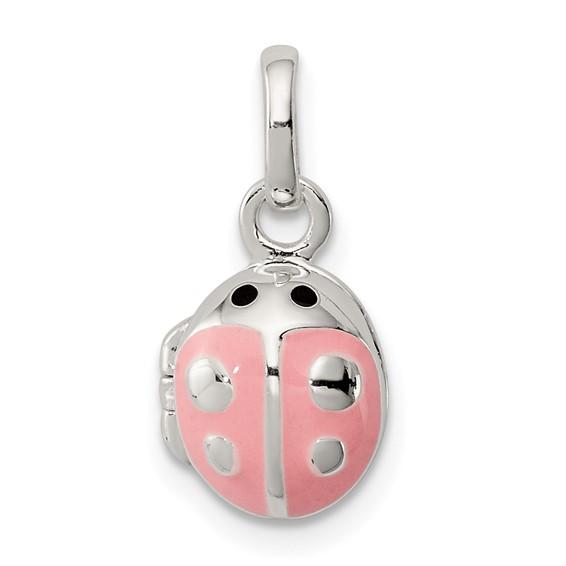 Sterling Silver 3/8in Pink Enamel Ladybug Locket