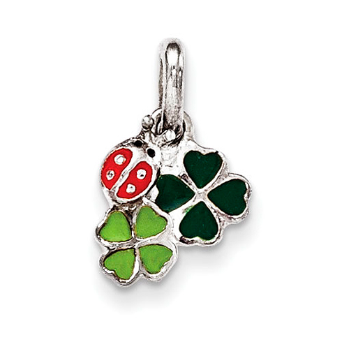 Sterling Silver Enamel Ladybug and Clovers Kid's Pendant