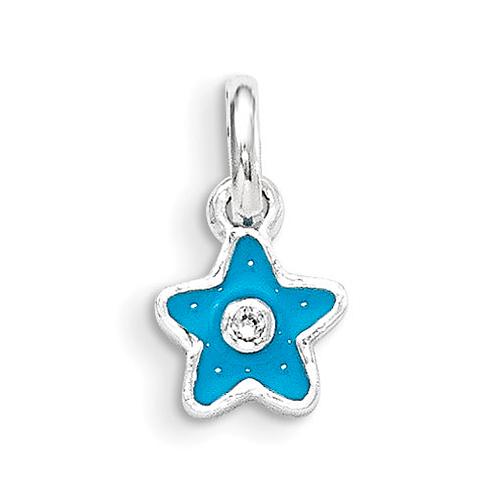 Sterling Silver Blue Enamel Kid's Star Pendant
