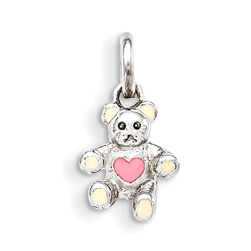 Sterling Silver Cream and Pink Enamel Teddy Bear Kid's Pendant