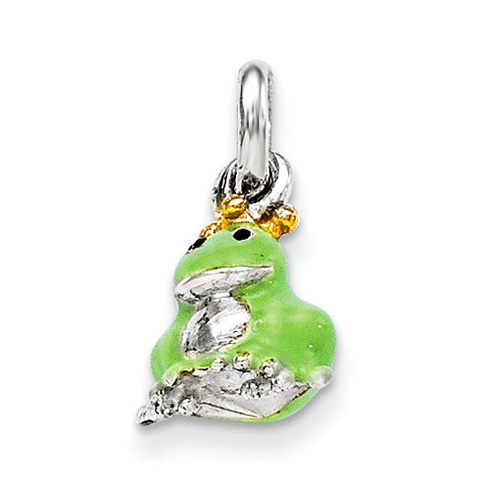 Sterling Silver Green Children's Gold-plated Enameled Pendant