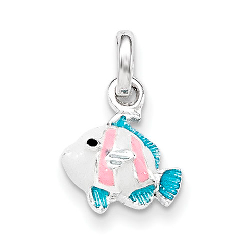 Sterling Silver Children's Blue Pink Black Enameled Fish Pendant