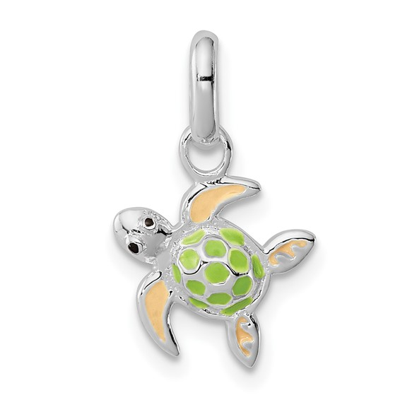 Sterling Silver Children's Enameled Sea Turtle Pendant