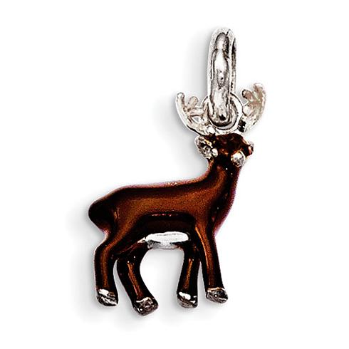 Sterling Silver Brown Enamel Deer Kid's Pendant