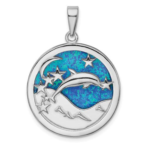 Sterling Silver Created Opal Dolphin Pendant with Moon and Stars 1in