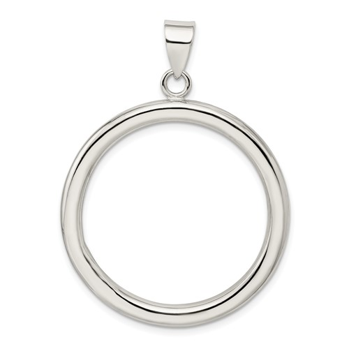 Sterling Silver Open Circle Pendant 1 1/2in