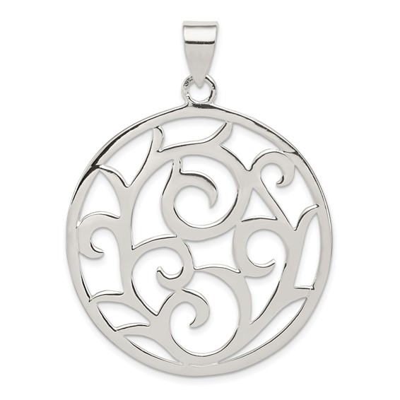 Sterling Silver 1 1/2in Fancy Round Pendant