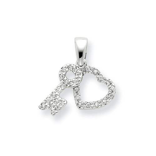 5/8in CZ Heart & Key Fancy Pendant - Sterling Silver