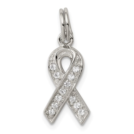 Sterling Silver 5/8in Cancer Awareness CZ Ribbon Pendant