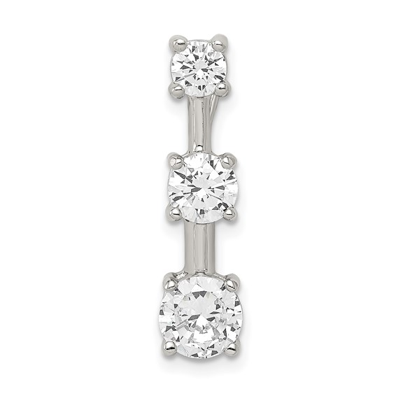 Sterling Silver 3-stone CZ  Pendant