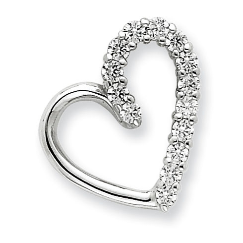 Sterling Silver Cubic Zirconia Accent Heart Pendant 3/4in