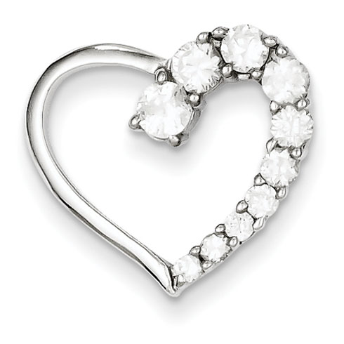 Sterling Silver CZ Heart Journey Pendant 3/4in