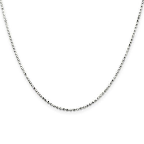 Sterling Silver 20in Italian Beaded Chain 1.5mm