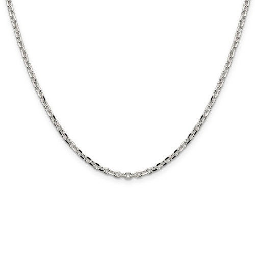 Sterling Silver 16in Diamond-cut Cable Chain 2.75mm