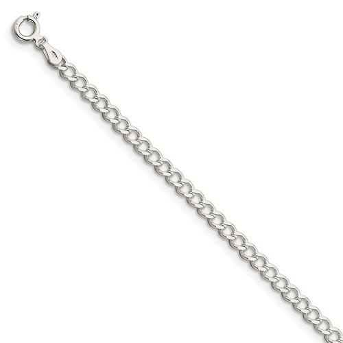 Sterling Silver 7in Italian Curb Link Bracelet 3.65mm