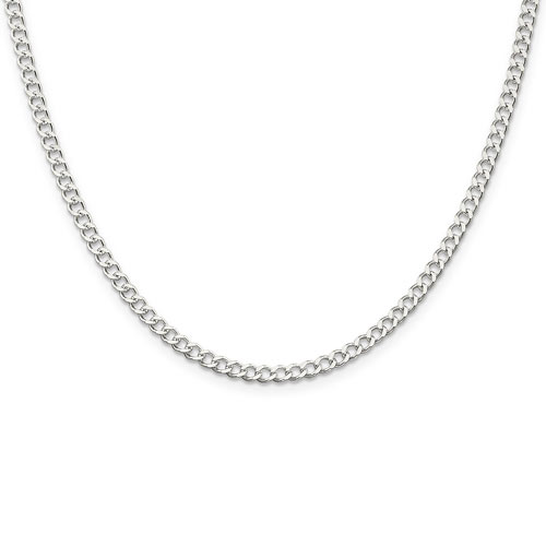 Sterling Silver 24in Italian Curb Chain 3.65mm